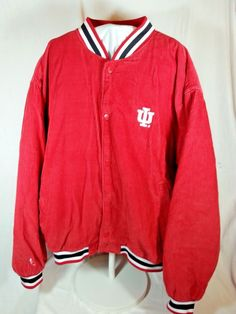 Front left chest area has IU embroidery. Color - Main color - Corduroy. Back of jacket has black embroidered letters - INDIANA. Men's size XL (could be worn as Unisex). Long sleeve, Front snap button closure. | eBay!
