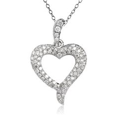 Hand-crafted heart motif pendant with clusters of very good round cut white diamonds weighing 0.33 carats pave set into 14k white gold. The pendant's length is 2 cm. The apex of the heart extends outwards in a small flourish. A romantic gift - the Heart Beats Collection.