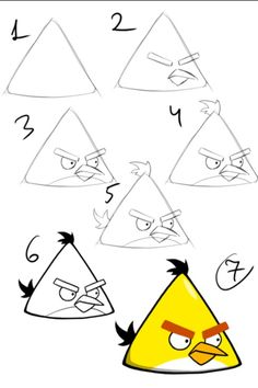 Draw the yellow angry bird