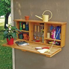 Handy Home Garden Caddy. Build on outside of garden shed eady to get to and store garden tools.