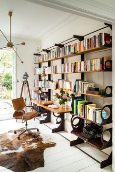 Chef Yotam Ottolenghi's Airy Modern Kitchen Yotam Ottolenghi, Vintage Chairs, Vintage Furniture, Painted Floorboards, Tree Trunk Table, Eames Chairs, House Tours, Bookshelves, Winter