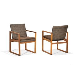 Garden Treasures�Set of 2 Canal Point Woven-Seat Wood Patio Dining Chairs with Solid Tan Cushions