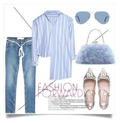 """Fashion Forward"" by testybubble ❤ liked on Polyvore featuring Off-White, Vetements, Dolce&Gabbana, Ray-Ban, Miu Miu, denim and Blue"