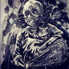 #inktober2016 #inktober #sketchbook #brushpen #fudebrush #sumiink #chainsaw #chainsawmassacre #spooky