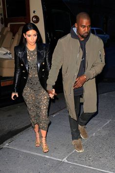 Kim and Kanye are notorious for matching ensembles. See their best looks on BAZAAR.com.