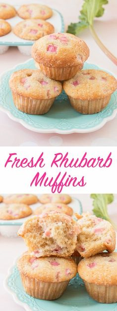 Fresh Rhubarb Muffins (video) These soft and fluffy rhubarb muffins have a crunchy sweet sugar topping and just the right amount of tang. It has a lovely vanilla flavor and it's loaded with pretty pink chunks of fresh rhubarb. Easy Baking Recipes, Muffin Recipes, Cake Recipes, Dessert Recipes, Cooking Recipes, Cooking Tips, Rhubarb Desserts, Rhubarb Recipes, Rhubarb Bread