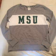 Victoria's Secret MSU Crewneck Michigan State University Crewneck sweatshirt from VS PINK. In great condition, basically brand new. No flaws, stains, or piling. Beautiful and ready for a new home! Go Spartans!  Brand: Victoria's Secret Pink Size: Small  Before shipment, ALL items in my closet will be washed, ironed, and lint rolled if needed.   Check out my closet for more cute items!  I ALWAYS discount bundles! Victoria's Secret Tops Sweatshirts & Hoodies