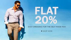 Exclusive Deal! Get FLAT 20% discount on Men's Clothing from top brands at Amazon India