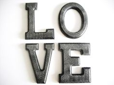 LOVE Wooden Letter Wall Art for Home, Nursery or Wedding in Black & Silver Glitter on Etsy, $37.23