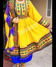 #yellow #blue #afghani #style #dress                                                                                                                                                      More