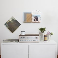 Tidy up your desk or tabletop while also adding an eye-catching wall accent with this set of Strum Organizers. Each of the four shelves can be hung in one of three possible orientations, so you plenty of options to choose from when it comes time to install them and store your magazines and books.