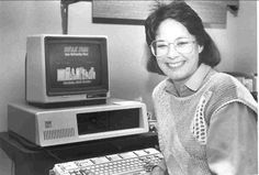 Former WFAE staffer PK Donson with the station's first computer in 1986.