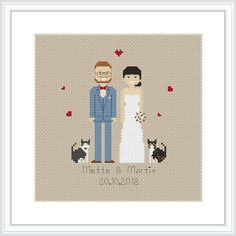 Create your own Cross Stitch Family Portrait with this custom PDF pattern designed just for you. 2nd Wedding Anniversary, Cotton Anniversary, Wedding Cross Stitch Patterns, Modern Cross Stitch Patterns, Cross Stitch Family, Wedding People, Baby Ornaments, Wedding Portraits, Decoration