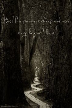 """But I have promises to keep and miles to go before I sleep."" -Robert Frost"