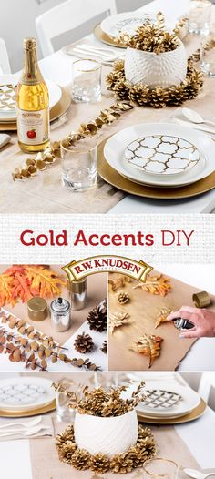 Now trending: gold accents! Add some DIY sparkle to your fall party. Paint craft store pinecones and leaves gold for an elegant table setting.