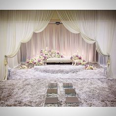We are loving this engagement dais by The draping look really nice! Wedding Stage Design, Wedding Stage Decorations, Reception Design, Wedding Themes, Wedding Styles, Wedding Venues, Backdrop Wedding, Wedding Ideas, Wedding Ceremony