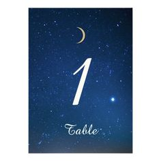 Starry Night Wedding Table Number Personalized Invite