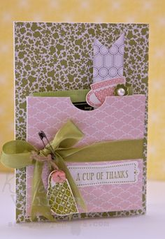 I used the Tea Shoppe Stamp set along with the Twitterpated Designer Series Paper. Love these colors and I love Blush Blossom. Super pretty and soft.