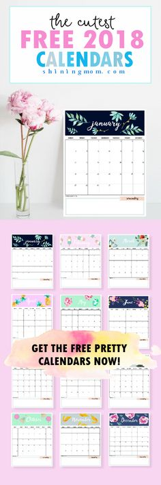 2019 Printable Calendar with Water Color Succulent Design Food