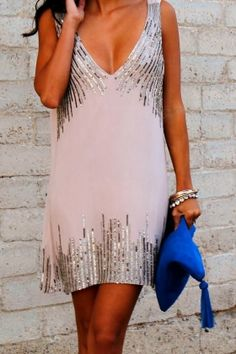 Blush dress with silver sequins.