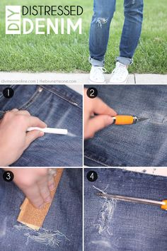 Let's be real: nobody WANTS to spend a bunch of money on jeans that are already covered in holes. But renewing old jeans with new holes-- that's another story! Try this DIY distressed denim tutorial to add wear and tear to your denim. Diy Distressed Jeans, Diy Ripped Jeans, Torn Jeans, Distressed Clothes, Diy Jeans, Do It Yourself Fashion, How To Distress Jeans, Diy Fashion, Fashion Ideas