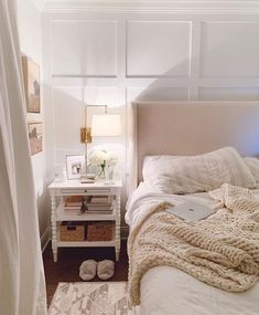 """Nightstand with baskets, great idea to """"hide the clutter"""" that always makes its way to my nightstand - Working on the final touches of our roof deck reveal post - should be live later tonight. In the interim - anything else you're really… Elizabeth Street, Roof Deck, Or Antique, Bedroom Decor, Bedroom Ideas, Bedroom Inspiration, Mindset, How Are You Feeling, Ideas"""