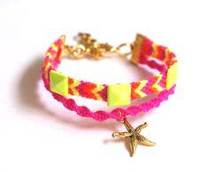 Starfish Friendship Bracelet in Neons.. $17.90, via Etsy.