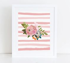 Floral Printable Art Print 8x10 Watercolor Flower Bouquet Nursery Print, Dusty Rose Pink Stripes, Watercolor Stripes,Botanical by PastelPrintablez on Etsy