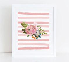 Floral Printable Art Print 8x10 Watercolor Flower Bouquet Nursery Print, Dusty Rose Pink Stripes, Watercolor Stripes,Botanical by PastelPrintablez on Etsy