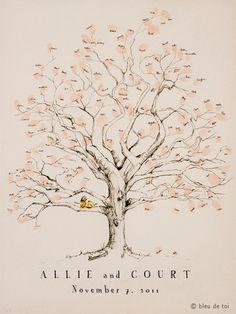 Impronte digitali albero Wedding Guest Book alternativa, disegnati a mano originale di mezzo Twisted Design rovere (ink pad venduto separatamente)
