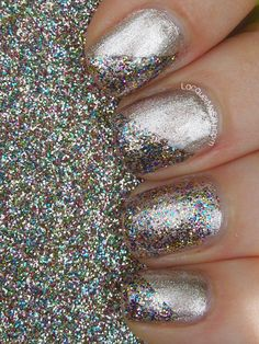 Multicolor glitter nail art....     This is something I love to do to my nails at school with all the extra glitter!
