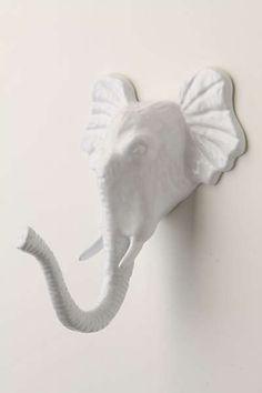 Encased Elephant Hook - would look so cute in a little boy's room or a nursery! Elephant Love, Elephant Head, Elephant Trunk, White Elephant, Towel Hooks, Coat Hooks, Hanging Towels, Coat Hanger, Purse Hanger