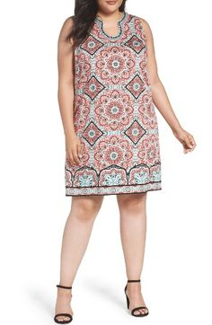 f83a258633 Free shipping and returns on London Times Star Tile Shift Dress (Plus Size)  at
