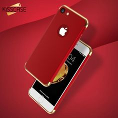 For iPhone 6 Case KISSCASE Gold Plating 3 in 1 Hard PC Plastic Armor Hybrid  Phone Cases For iPhone 7 7 Plus 6s Plus 6 Cover Capa 1c1c88f761