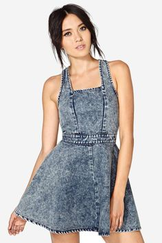 Awesome dark acid-washed denim dress with a squared neckline and fitted waist. Cutout back with e...