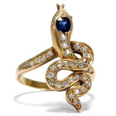 Around Antique Snake Ring Made of Gold Sapphire & Diamonds Serpent Antic Jewellery, Snake Ring, Sapphire Diamond, Belle Epoque, Heart Ring, Amulets, Antiques, Rings, Berlin