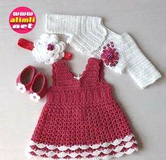 Baby Crochet Patterns Part 20 - Beautiful Crochet Patterns and Knitting Patterns Crochet Toddler Dress, Baby Girl Crochet, Crochet Baby Clothes, Crochet For Kids, Knit Crochet, Knitting Patterns, Crochet Patterns, Handmade Baby Quilts, Baby Dress Patterns