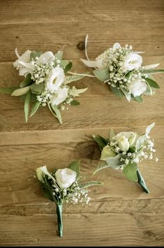 Buttonholes and wrist corsages with white flowers. Wrist Corsage, Corsages, Event Styling, Buttonholes, White Flowers, Bridal, Creative, Wedding, Valentines Day Weddings