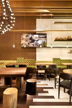 Sensational Coffee Shop Design of the Gaga Deli : Elegant Gaga Restourant Interior Design Minimalist Furniture Ideas Asia Restaurant, Restaurant Seating, Restaurant Design, Coffee Shop Design, Cafe Design, Commercial Design, Commercial Interiors, Pallet Seating, Café Bar