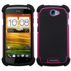 Like a security guard for your phone!HTC One S Protector Case Cover - Hybrid Hot Pink/Black Total Defense is there!