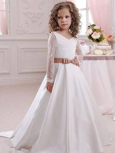 Vestidos para primera comunion con manga larga