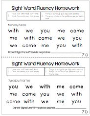 1 minute Sight Word Fluency for homework.  Directions in English and Spanish