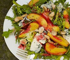 Nectarine and Blue Cheese Salad with Plum Vinaigrette, um yum!