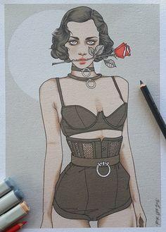"""""""Femme Fatale"""" drawing by Rik-Lee Sexy Drawings, Art Drawings, Pretty Art, Cute Art, Fashion Sketches, Art Sketches, Rik Lee, Dibujos Cute, Woman Illustration"""