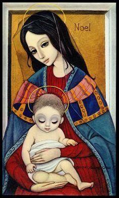 """Madonna and Child"" ~ Margaret Keane, 1962"