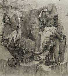 Adonna Khare's Amazing 288 sq ft Elephants Mural in Pencil