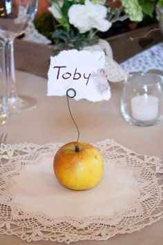 Simple and natural table name cards. Little apple wedding name cards.