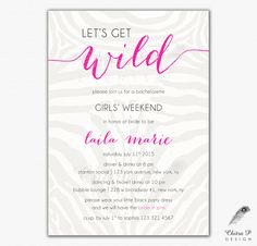 Pink Bachelorette Party Invitations - Printed, Bridal Let's Get Wild Girls Night Zoo Birthday Last Fling Wedding Invite - chitrap.etsy.com