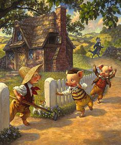 Night or Nap time always began with a fairy tale. One of my faves. Scott Gustafson, The 3 Little Pigs