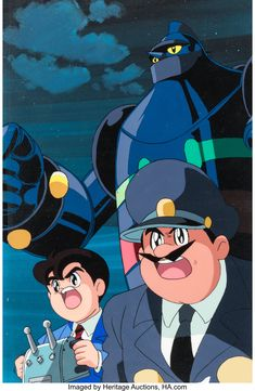 Gigantor Production Cel Setup with Painted Background and Animation Drawing Group of 10 (Tokyo Movie Shinsha, c. 1980s-90s) 1980s, Tokyo, Auction, Animation, Group, Drawings, Anime, Movies, Art